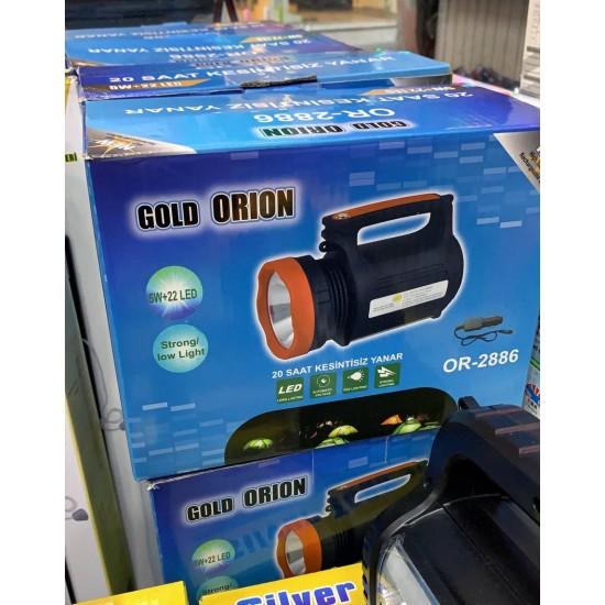 Gold Orion 2886 5W + 22 LED Şarjlı El Projektörü ve Işıldak