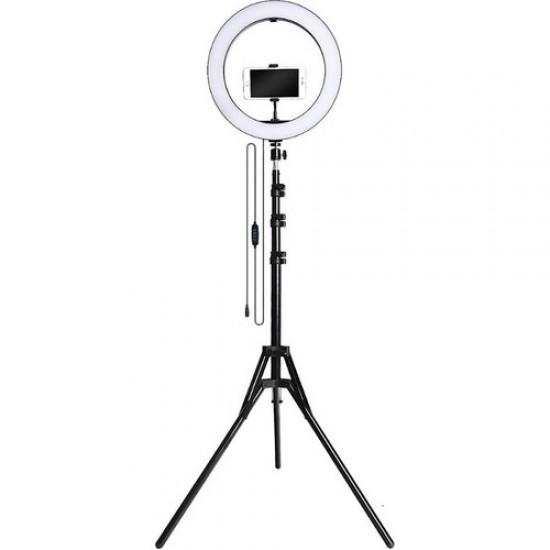 """Hobimtek 10"""" Youtuber Video Oda Çekimleri İçin Ring Light Sürekli Beyaz LED Işık + 2 m Stand Ayak"""