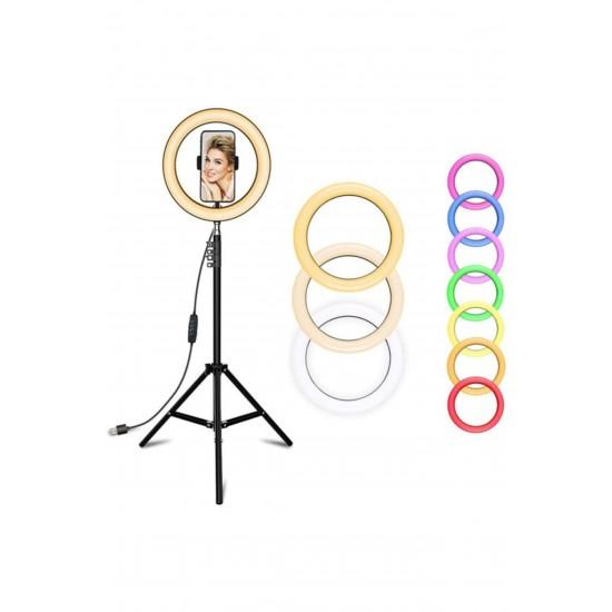 10 İnç Rgb Ring Light Çok Renkli Fonksiyonlu Tripod Led  2 Metre Ayak Tripod