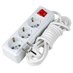3 Prizli 3 Metre Elektrik Uzatma Kablosu Açma Kapama Anahtarlı