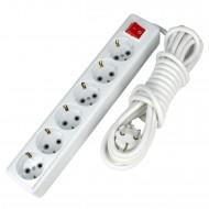 6 Prizli 5 Metre Elektrik Uzatma Kablosu Açma Kapama Anahtarlı