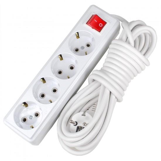 4 Prizli 5 Metre Elektrik Uzatma Kablosu Açma Kapama Anahtarlı