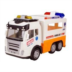 HD-59 Pilli Oyuncak Ambulans Işıklı Sesli Çarp ve Devam Et 21 Cm