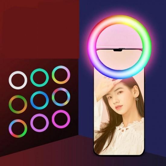 HD-77 Selfie Ring Light Şarjlı Mini 15 Renk LED Işık