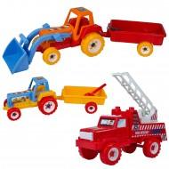 İş Makinaları Oyuncak Seti Traktör İtfaiye 3 Parça Büyük Boy