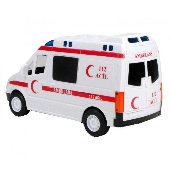 HD-107 Kırılmaz Oyuncak Ambulans 112 Sesli Işıklı Sürtmeli