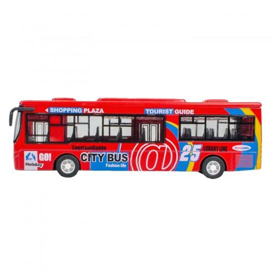 HD-110 Metal Kasa Die-Cast Travego Otobüs Oyuncak 17 Cm Çek Bırak