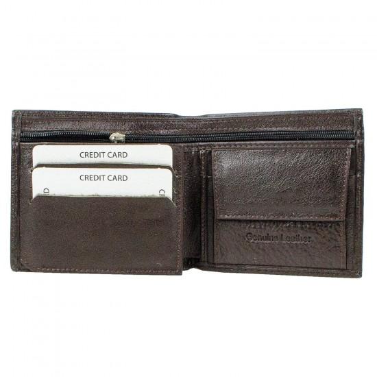 CL03-2 Erkek %100 Deri Cüzdan 6 Kart Alır Bozuk Para Bölmeli Kahve