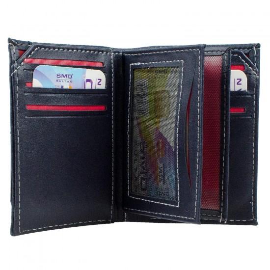 CS-06-1 Dik Cüzdan 13 Kartlık Bozuk ve Kağıt Para Bölmeli Lacivert