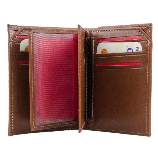 CS-06-3 Dik Cüzdan 13 Kartlık Bozuk ve Kağıt Para Bölmeli Taba