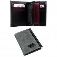 CS-06-4 Dik Cüzdan 13 Kartlık Bozuk ve Kağıt Para Bölmeli Gri/Siyah