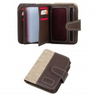 CS-08-3 Dik Cüzdan 18 Kartlık Bozuk ve Kağıt Para Bölmeli Kahve/Bej