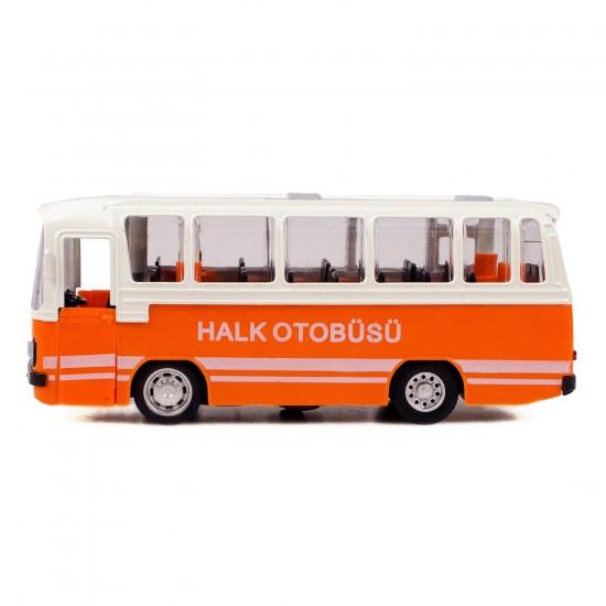 CS-12 Metal Kasa Die-Cast Halk Otobüsü Oyuncak 15 Cm Çek Bırak Turuncu