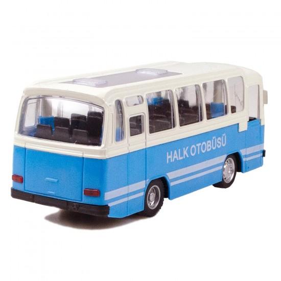 CS-12 Metal Kasa Die-Cast Halk Otobüsü Oyuncak 15 Cm Çek Bırak Mavi
