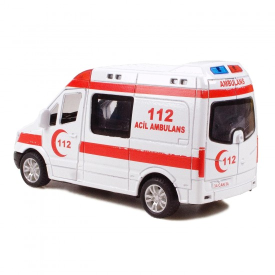 CS-13 Metal Kasa Die-Cast Ambulans Oyuncak 14 Cm Çek Bırak