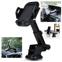 360° Araç İçi Cam Vantuzlu Telefon Tutucu Siyah