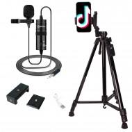 Youtuber, Tiktoker Seti Mikrofonlu Uzaktan Kumandalı Alüminyum Tripod 140 Cm