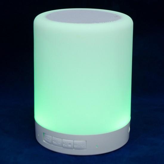 Dokunmatik Şarjlı Abajur Bluetooth Hoparlör Günışığı ve RGB Renkler