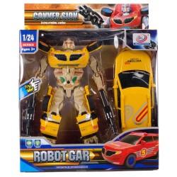 Transformers Dönüşen Silahlı Robot Araba Sesli Işıklı 25 Cm v2