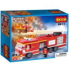 Cogo 219 Parça Merdivenli İtfaiye Kamyonu Lego Oyun Seti