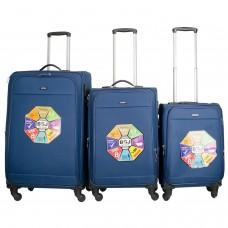 BGJ Kumaş Bavul Valiz Seti Seyahat Çantası 2019 Model Lacivert