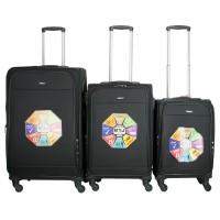 BGJ Kumaş Bavul Valiz Seti Seyahat Çantası 2019 Model Siyah