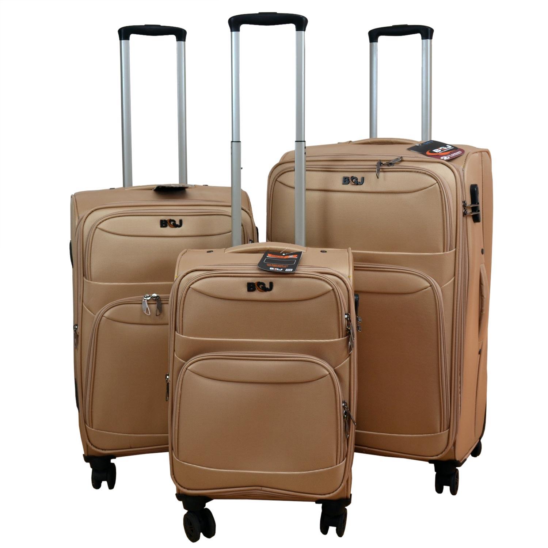 733c30ae49e30 BGJ Kumaş Bavul Valiz Seti Seyahat Çantası Bej