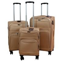 BGJ Kumaş Bavul Valiz Seti Seyahat Çantası Bej