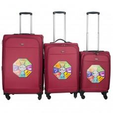 BGJ Kumaş Bavul Valiz Seti Seyahat Çantası 2019 Tip Kırmızı