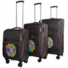 BGJ Kumaş Bavul Valiz Seti Seyahat Çantası Kahverengi