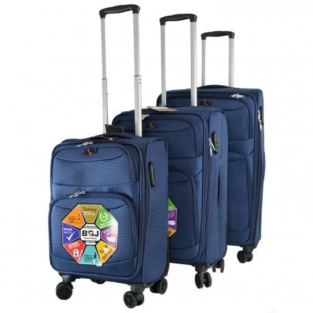 BGJ Kumaş Bavul Valiz Seti Seyahat Çantası Lacivert
