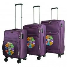 BGJ Kumaş Bavul Valiz Seti Seyahat Çantası Mor
