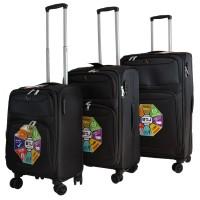 BGJ Kumaş Bavul Valiz Seti Seyahat Çantası Siyah