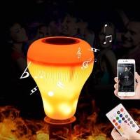 Bluetooth Alevli Hoparlör LED Ampül Beyaz Lamba