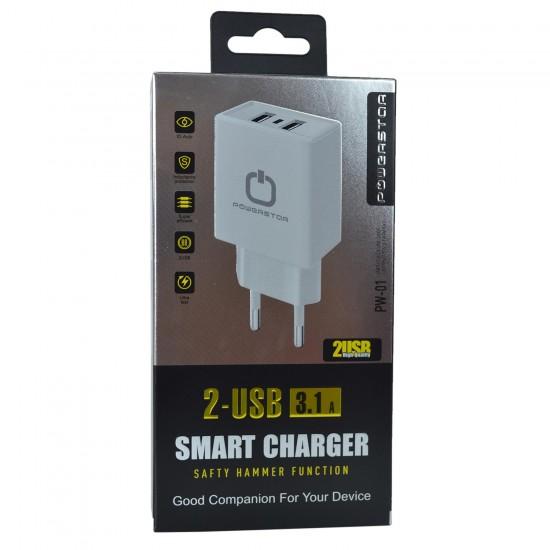 Powerstar PW-01 Hızlı Şarj Aleti 3.1 Amper 2x USB