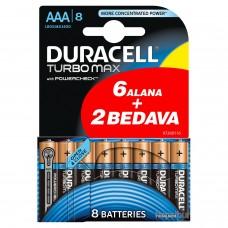 Duracell Turbo Max Alkalin AAA İnce Kalem Pil 8Li