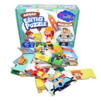 Eğitici Oyuncak Ahşap Hafıza Kartları Puzzle Meslekler