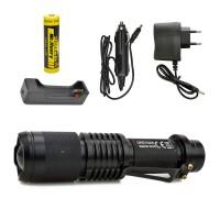 Alüminyum LED Şarjlı El Feneri Su Geçirmez Zoom Sellektörlü