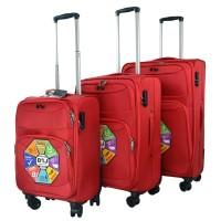 BGJ Kumaş Bavul Valiz Seti Seyahat Çantası Kırmızı