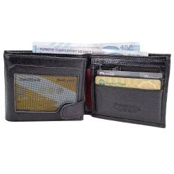 Hobimtek Erkek %100 Deri Cüzdan Çift Para Bölmeli 13 Kart Alır Bozuk Para Fermuarlı