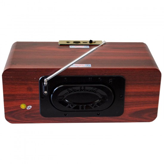 Hobimtek HX-2933BT Bass Kabinli Çift Hoparlör Radyo Bluetoothlu Ahşap Bataryalı