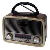 Knstar KN-1182BT Şarjlı Ledli Radyo Retro Ahşap MP3 Çalar 18 Cm