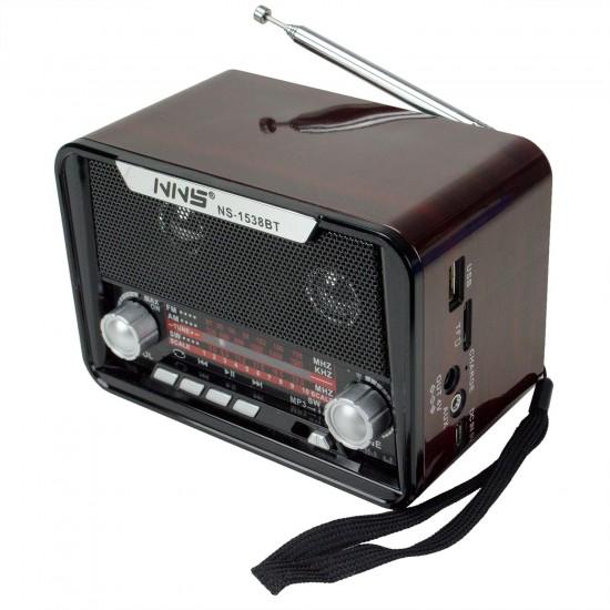 NNS NS-1538BT Şarjlı Radyo Retro Ahşap MP3 Çalar 14 Cm