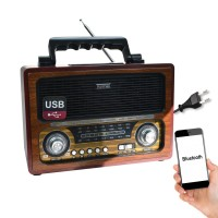 Kemai MD-1800BT Nostaljik Ahşap Bluetooth Hoparlör Radyo 27cm