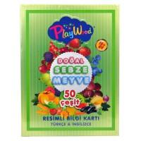 PlayWood Resimli Bilgi Kartı Sebze Meyve Türkçe İngilizce