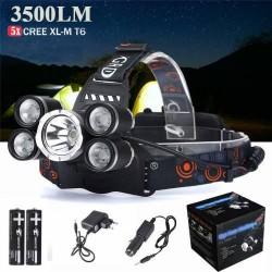 Boruit 5x Cree XL-M T6 5 Lambalı Kafa Feneri 3500 Lümen Işık