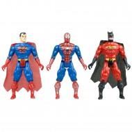 Spiderman Batman Superman Oyuncak Seti Işıklı Eklemli 15 Cm